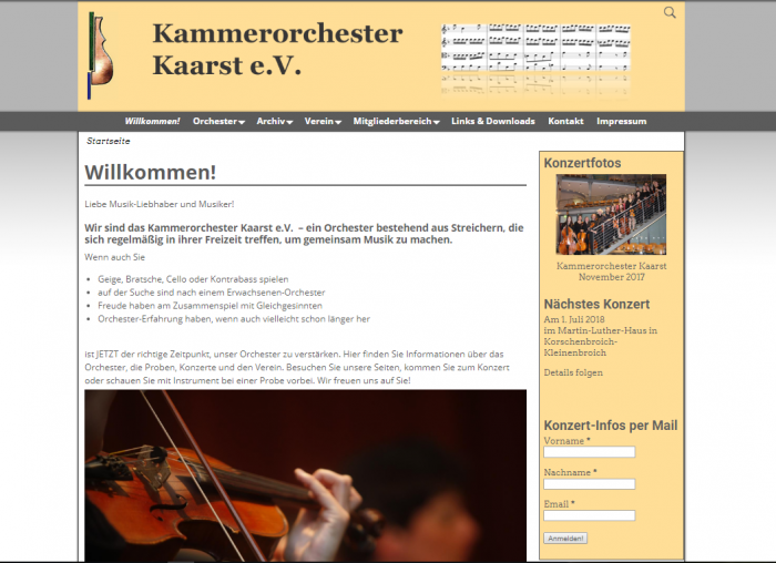 Screenshot der Homepage Kammerorchester Kaarst e.V.